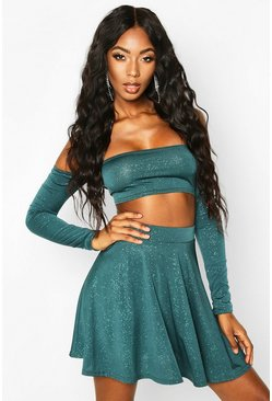 Womens Emerald Glitter Mini Skater Skirt