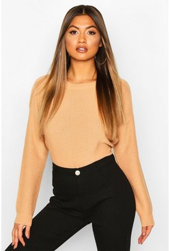 Camel Boxy Scoop Neck Jumper
