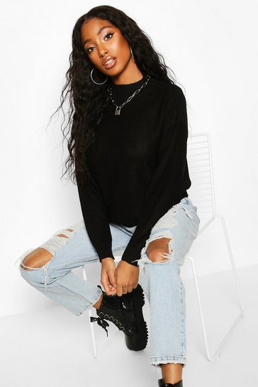 Womens Black Crew Neck Jumper