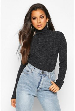 Black Rib Knit Roll Neck Jumper