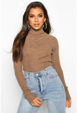 Womens Camel Rib Knit Roll Neck Jumper