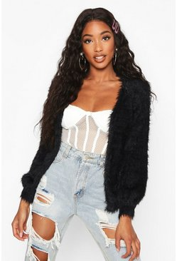 Womens Black Tie Front Fluffy Knit Crop Cardigan