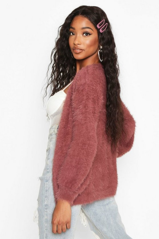 Tie Front Fluffy Knit Crop Cardigan