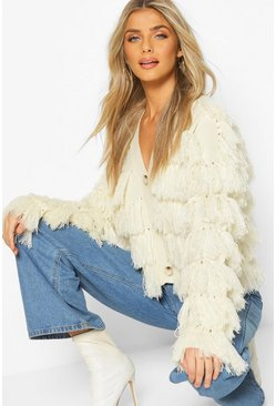 Cream Tassel Fringed Cardigan
