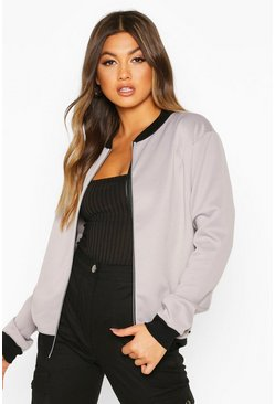 Grey Basic Bomber Jacket