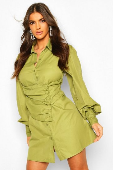 Olive Wrap Over Button Detail Shirt Dress