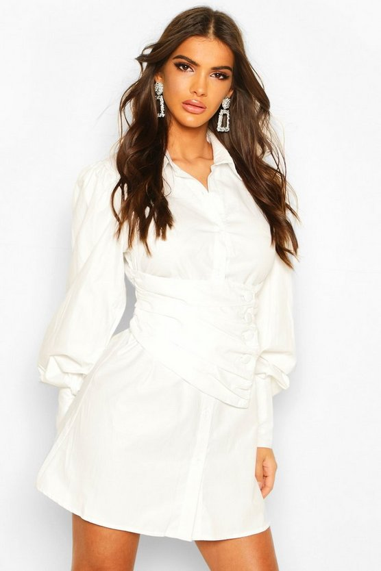 White Wrap Over Button Detail Shirt Dress