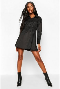 Black Button Detail Ruched Waist Shirt Dress
