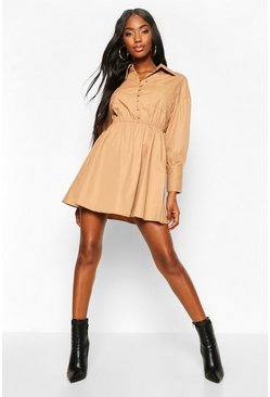 Camel Button Detail Ruched Waist Shirt Dress