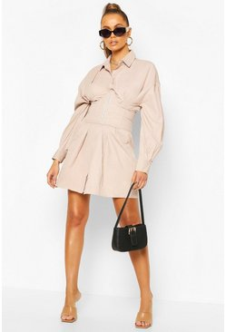 Stone Corset Detail Shirt Dress