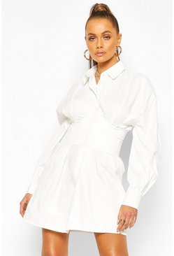 Womens White Corset Detail Shirt Dress