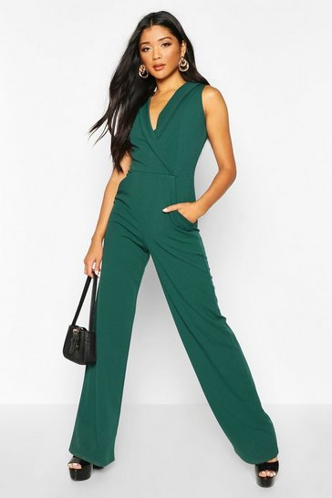 Womens Emerald Tailored Wide Leg Jumpsuit