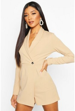 Stone Tailored Blazer Playsuit