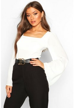 Ivory Wide Sleeve Square Neck Blouse
