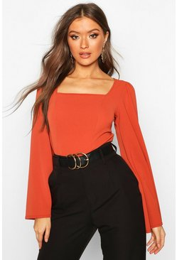Womens Rust Wide Sleeve Square Neck Blouse
