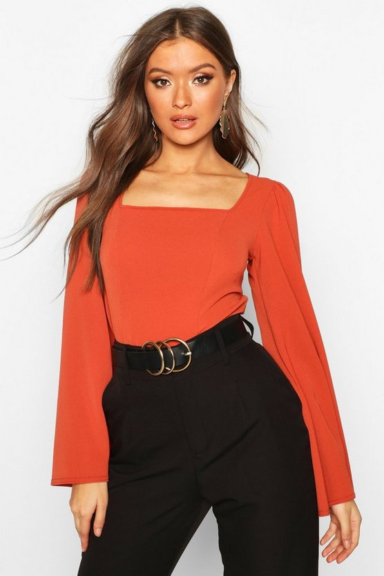 Wide Sleeve Square Neck Blouse