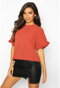 Rust Frill Sleeve Polka Dot Blouse