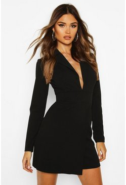 Black Scuba Crepe Blazer Dress