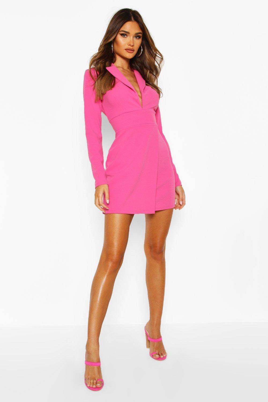 womens scuba crepe blazer dress - pink - 14