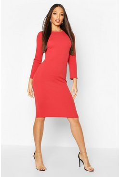 Womens Rust Long Sleeve Midi Dress