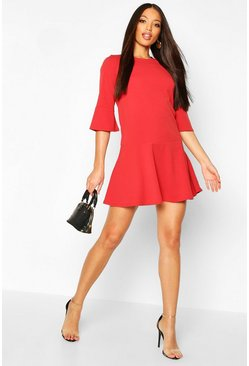 Womens Rust Frill Sleeve And Hem Shirt Dress