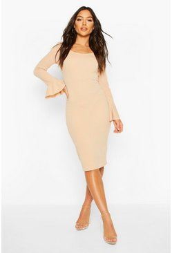 Womens Stone Flute Sleeve Midi Dress