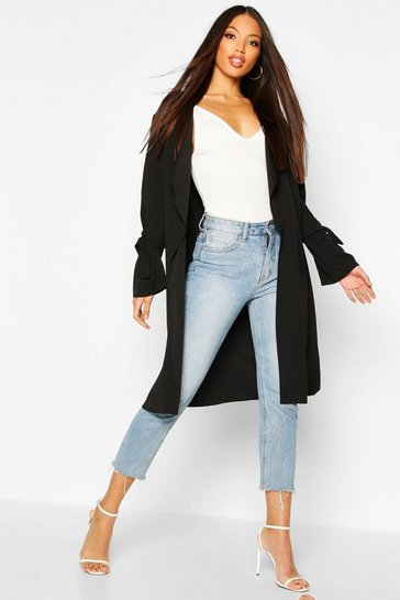Womens Black Waterfall Tie Cuff Duster Coat