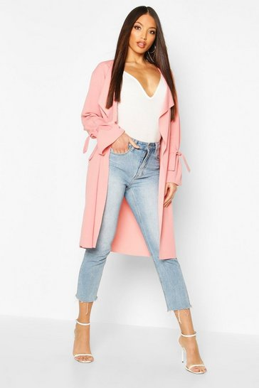 Womens Rose Waterfall Tie Cuff Duster Coat