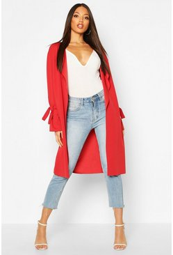 Rust Waterfall Tie Cuff Duster Coat