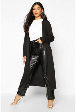 Womens Black Collarless Duster Coat