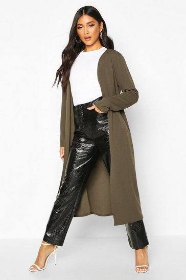 Womens Khaki Collarless Duster Coat