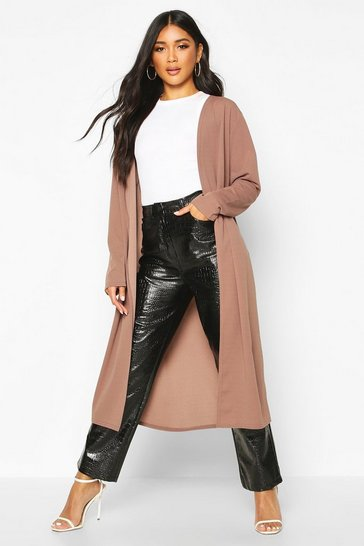 Mocha Collarless Duster Coat