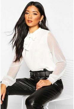 Womens White Dobby Mesh Sleeve Pussy Bow Blouse