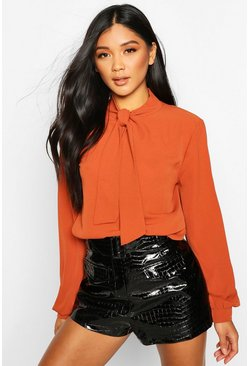 Womens Rust Pussybow Blouse