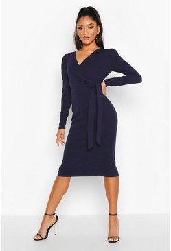 Navy Tie Side Puff Sleeve Midi Dress