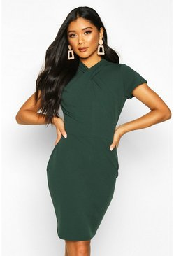 Womens Bottle Neck Detail Midi Dress