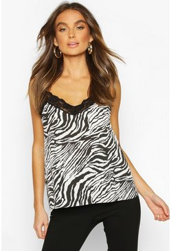 Womens Natural Tiger Print Lace Trim Cami