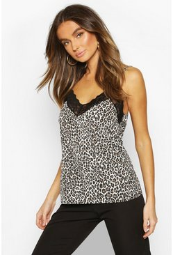 Womens Brown Leopard Print Lace Trim Cami