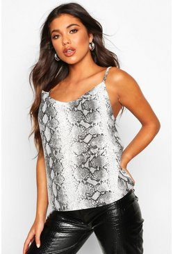 Womens Grey Snake Print Drape Front Cami