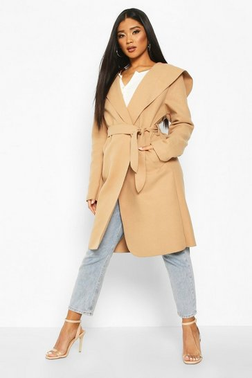 Womens Camel Hooded Belted Shawl Coat