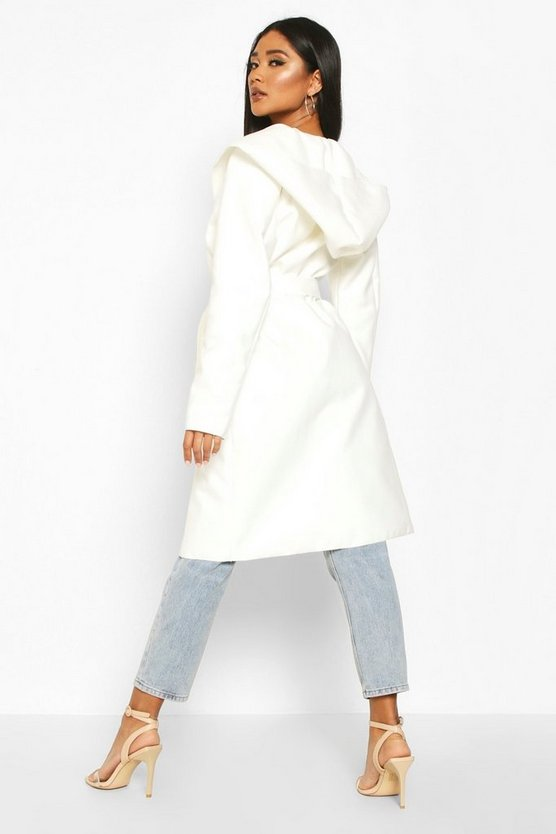 Hooded Belted Shawl Coat