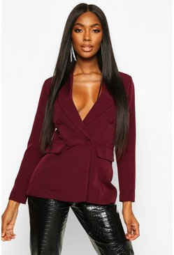 Womens Berry Double Breasted Covered Button Blazer