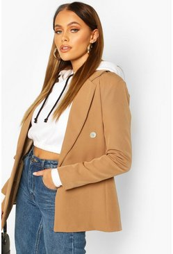 Womens Camel Double Breasted Asymmetric Hem Blazer