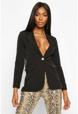 Black Single Breasted Tailored Blazer