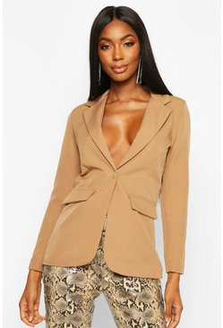 Womens Camel Single Breasted Tailored Blazer