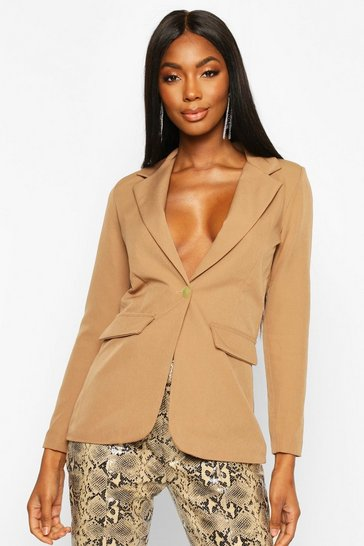 Camel Single Breasted Tailored Blazer
