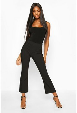 Womens Black Slim Kick Flare Trouser