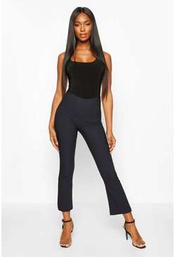 Navy Slim Kick Flare Pants