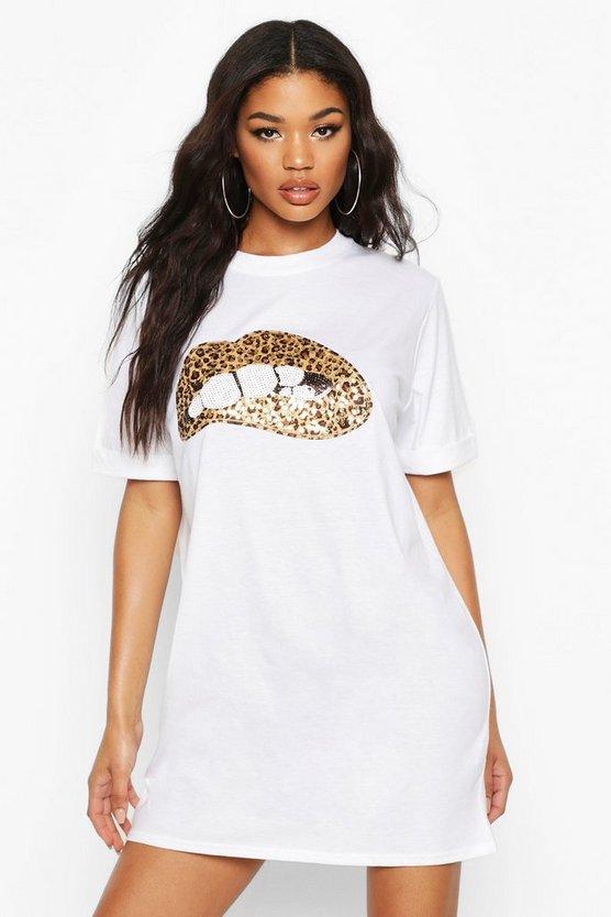 Sequin Leopard Lips T-Shirt Dress