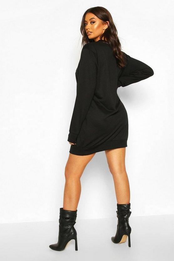 Sequin Leopard Lips Sweatshirt Dress